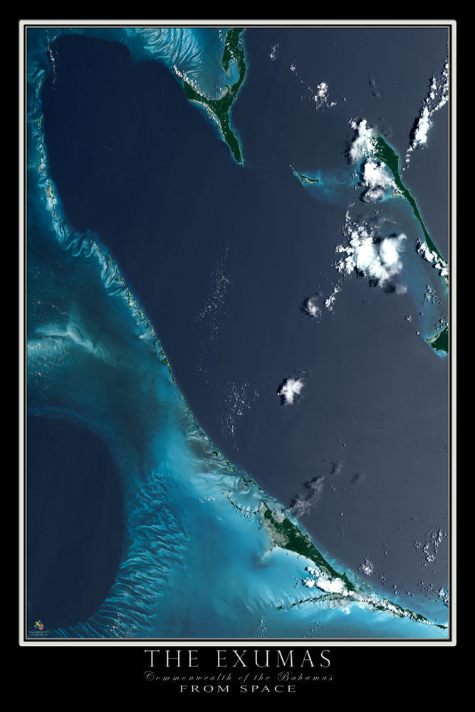 The Exumas Bahamas Satellite Poster Map by TerraPrints.com. Available in multiple sizes with free shipping in the USA.