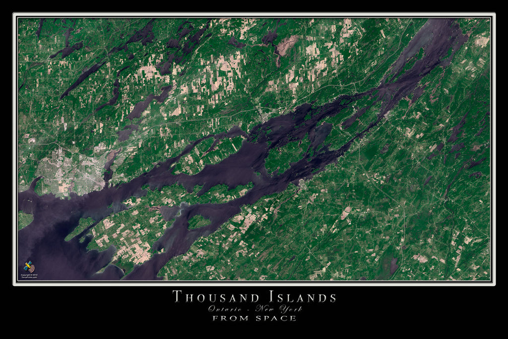Thousand Islands Ontario - New York From Space Satellite Poster Map - TerraPrints.com
