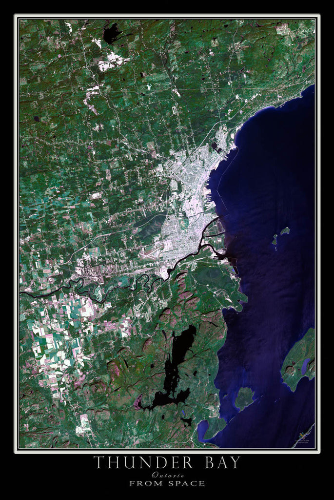 Thunder Bay Ontario From Space Satellite Poster Map by TerraPrints.com. Available in multiple sizes with free shipping in the USA.