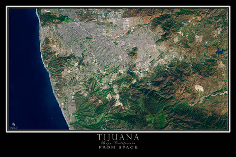 Tijuana Mexico From Space Satellite Poster Map by TerraPrints.com. Available in multiple sizes with free shipping in the USA.