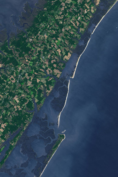 Eastern Shore Of Virginia Satellite Poster Map