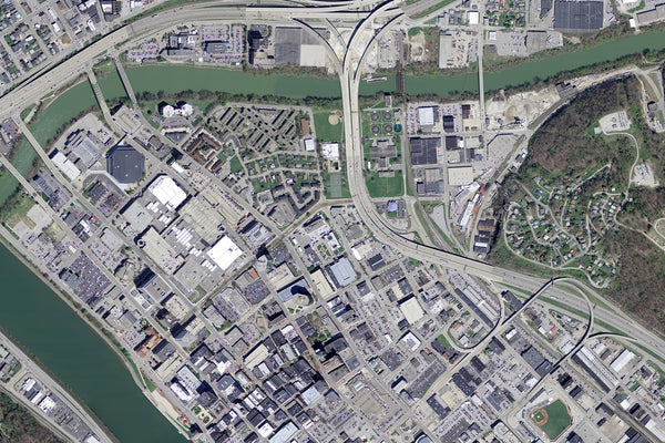Charleston West Virginia From Space Satellite Poster Map