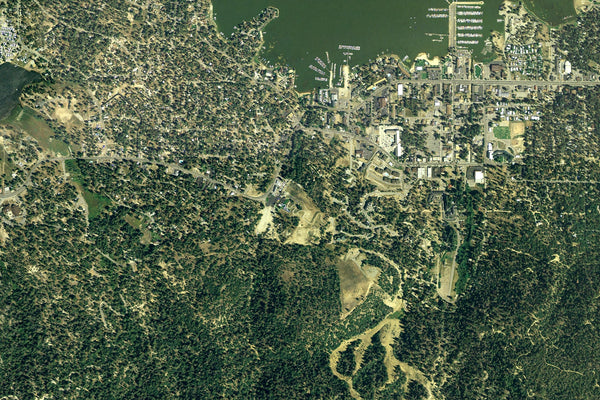 Big Bear Lake California From Space Satellite Poster Map