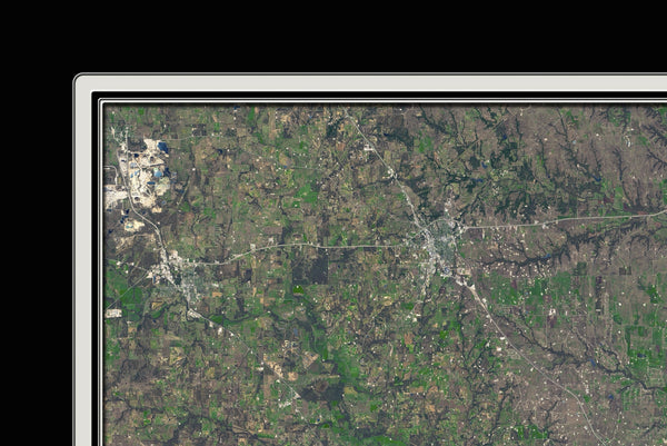 Dallas Fort Worth Texas From Space Satellite Poster Map