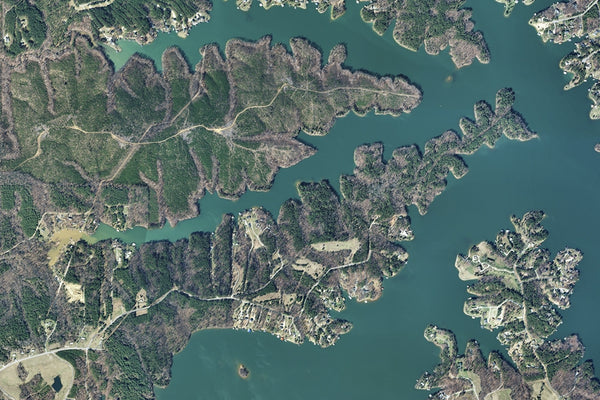 Hyco Reservoir North Carolina Satellite Poster Map
