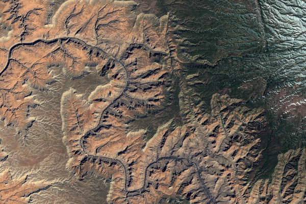 Grand Canyon National Park Arizona From Space Satellite Poster Map