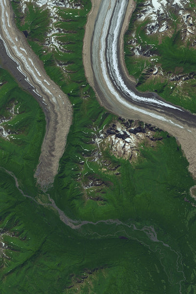 Denali National Park & Preserve Alaska From Space Satellite Poster Map
