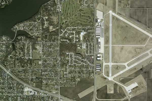 Decatur Illinois From Space Satellite Poster Map