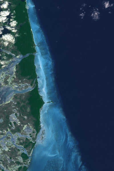 Andros Islands Bahamas From Space Satellite Poster Map