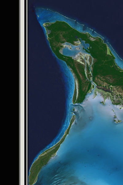Acklins and Crooked Island Bahamas From Space Satellite Poster Map