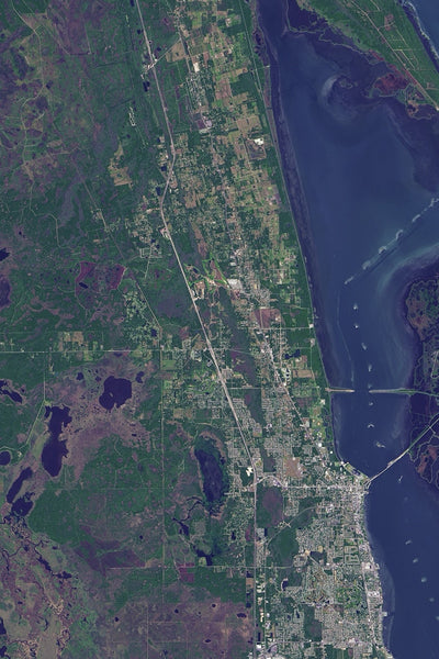 Cape Canaveral Florida From Space Satellite Poster Map