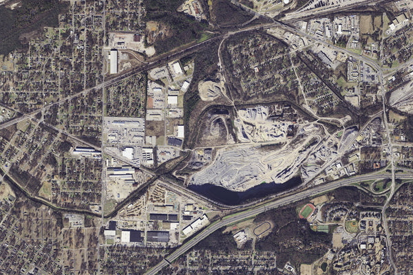 Birmingham Alabama From Space Satellite Poster Map