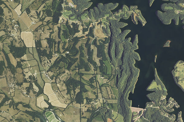 Tim Ford Lake Tennessee From Space Satellite Poster Map