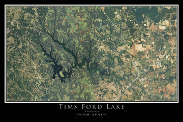 The Tims Ford Lake Tennessee Satellite Poster Map