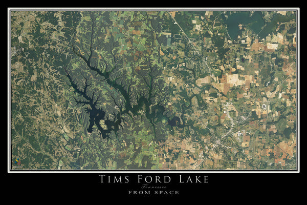 Tims Ford Lake Tennessee Satellite Poster Map