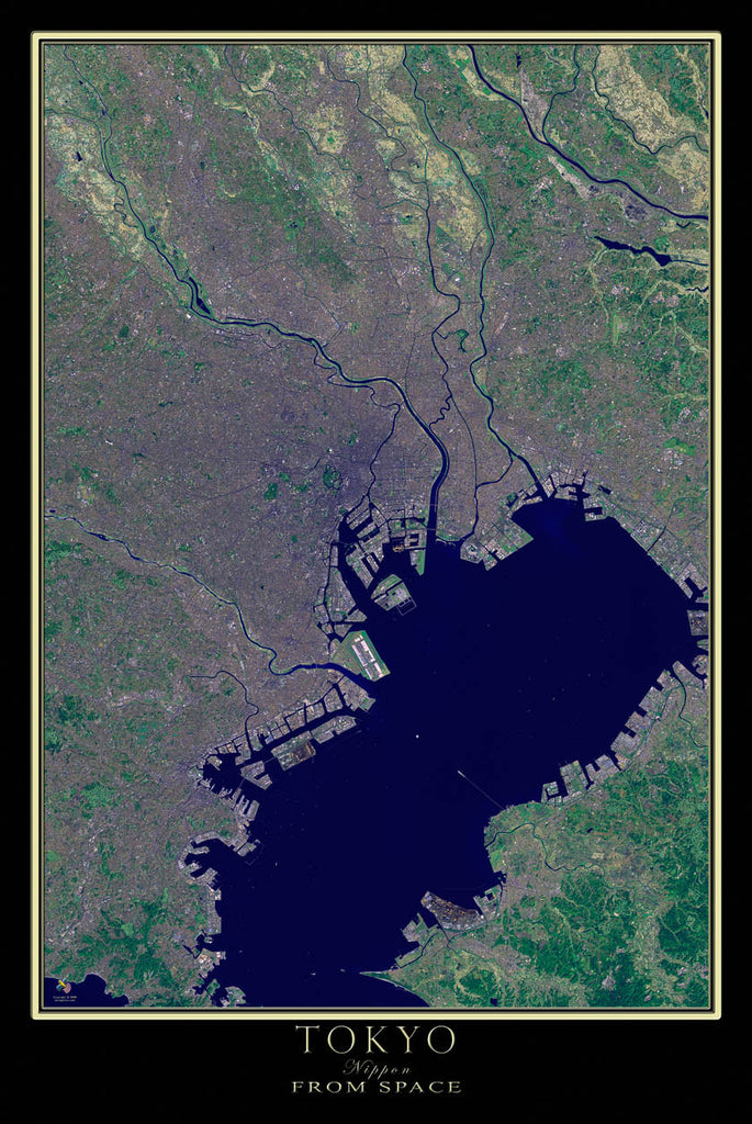 Tokyo Japan From Space Satellite Poster Map - TerraPrints.com