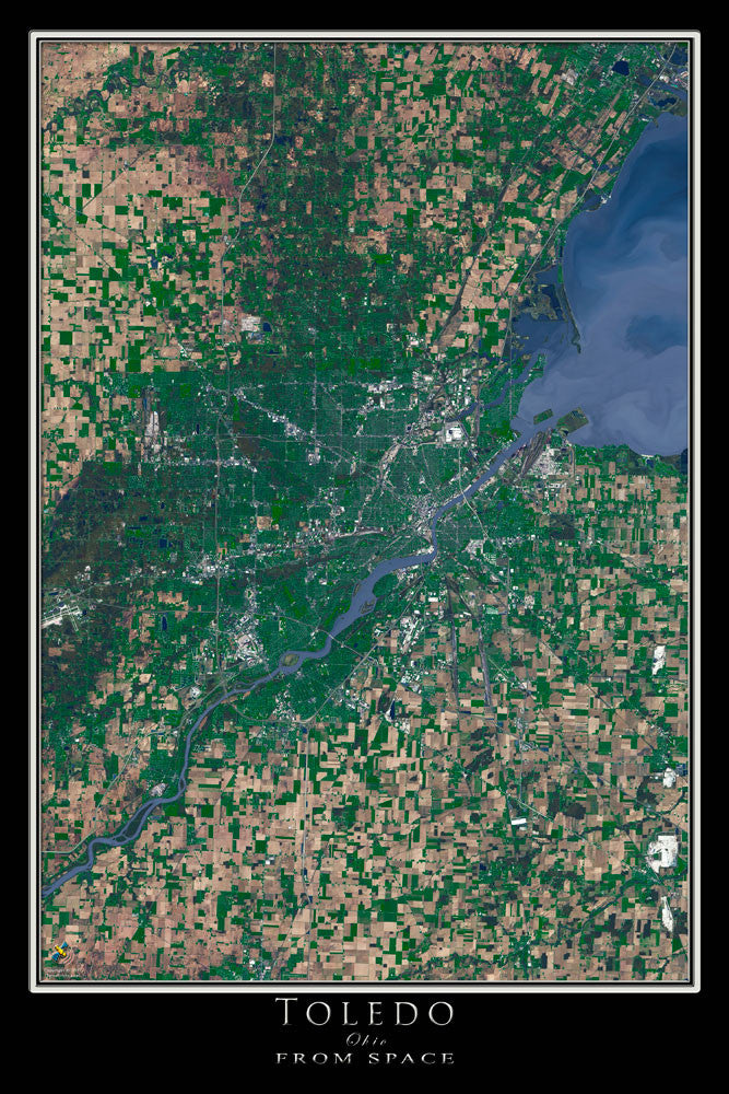 Toledo Ohio From Space Satellite Poster Map