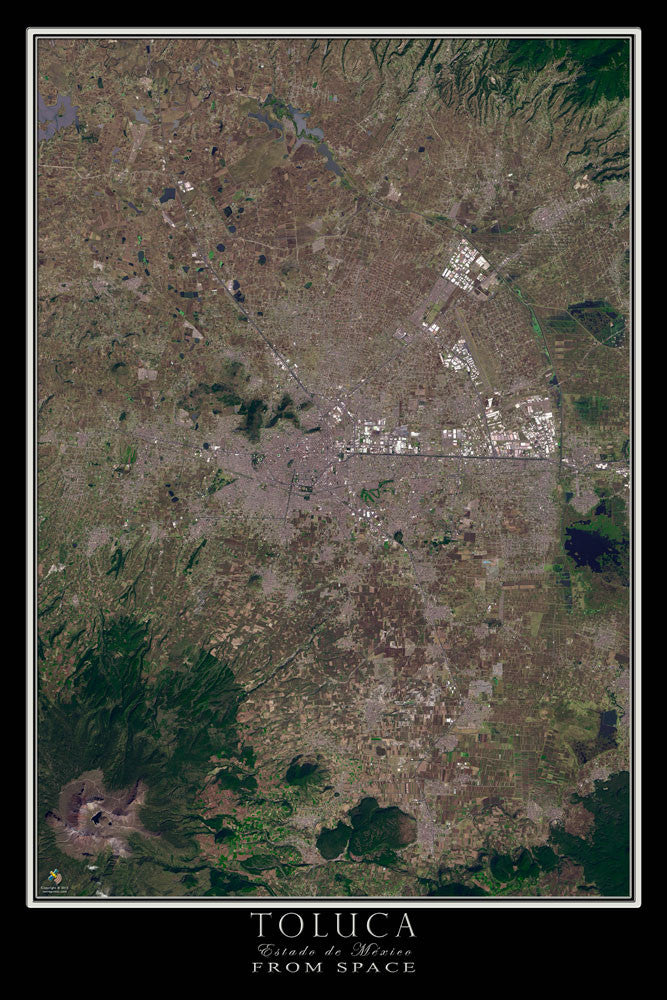 Toluca Mexico From Space Satellite Poster Map - TerraPrints.com