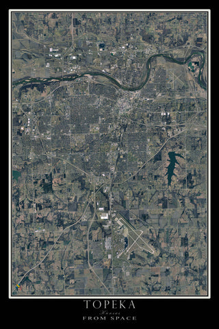 Topeka Kansas From Space Satellite Poster Map by TerraPrints.com. Available in multiple sizes with free shipping in the USA.