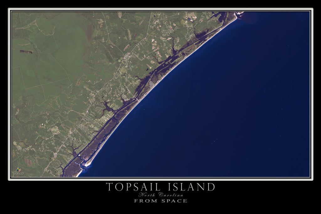 Topsail Island North Carolina From Space Satellite Poster Map - TerraPrints.com
