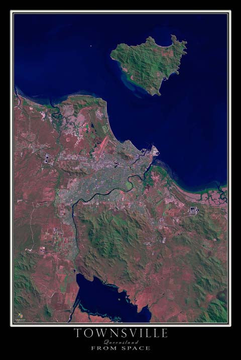 Townsville Queensland Australia From Space Satellite Poster Map - TerraPrints.com