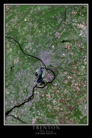 Trenton New Jersey From Space Satellite Poster Map - TerraPrints.com