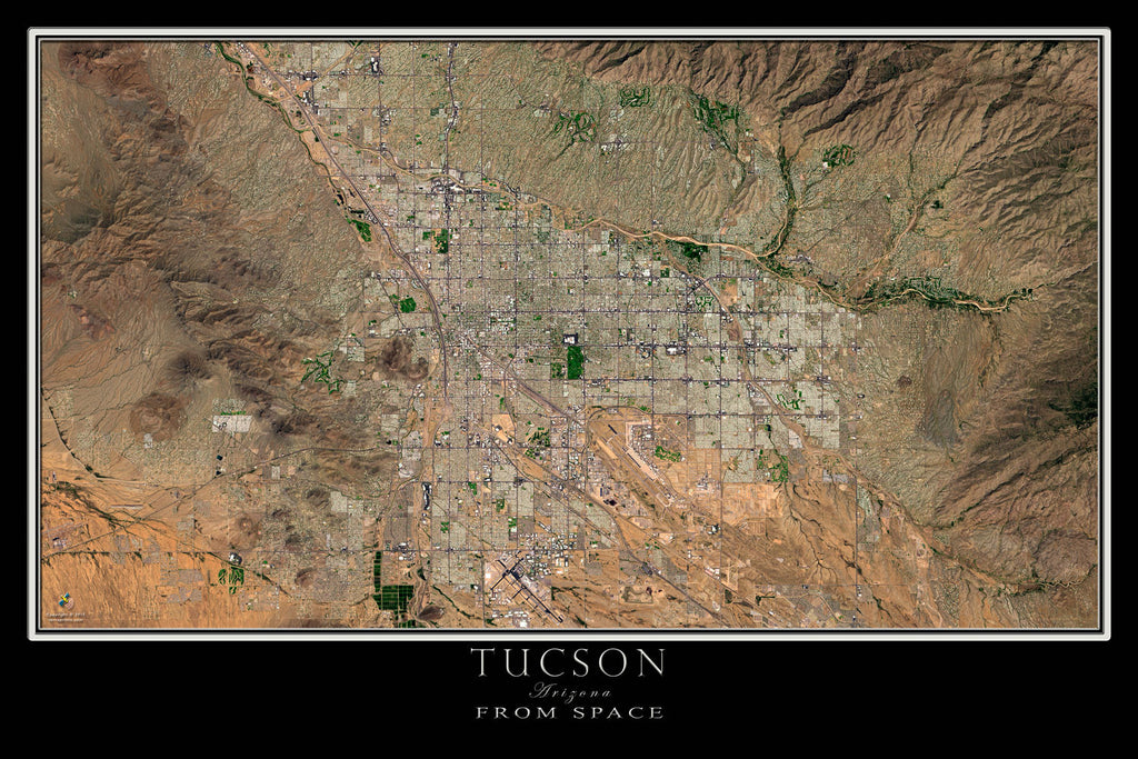 Tucson Arizona From Space Satellite Poster Map - TerraPrints.com