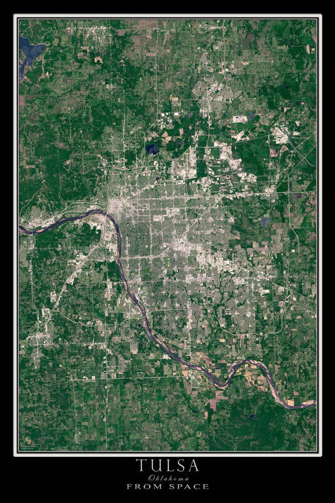 Tulsa Oklahoma From Space Satellite Poster Map - TerraPrints.com
