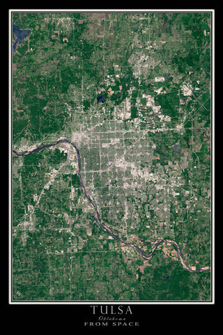 Tulsa Oklahoma Satellite Poster Map - TerraPrints.com