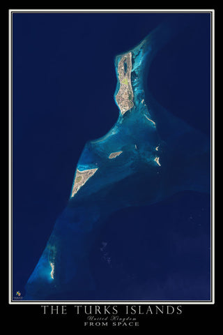 Turks Islands From Space Satellite Poster Map - TerraPrints.com