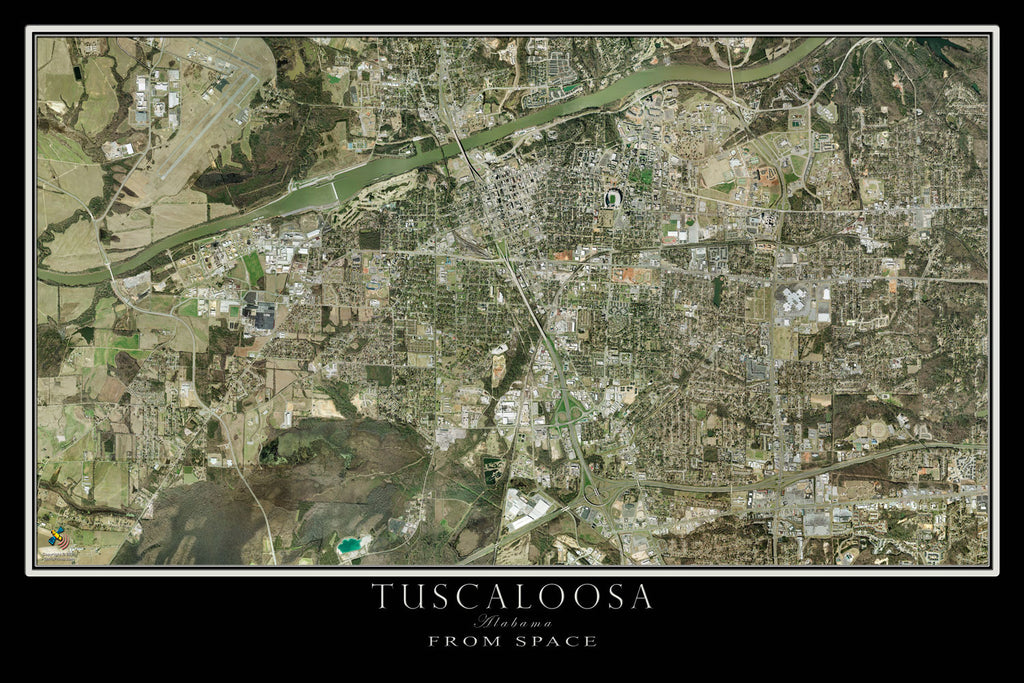 Tuscaloosa Alabama From Space Satellite Poster Map - TerraPrints.com