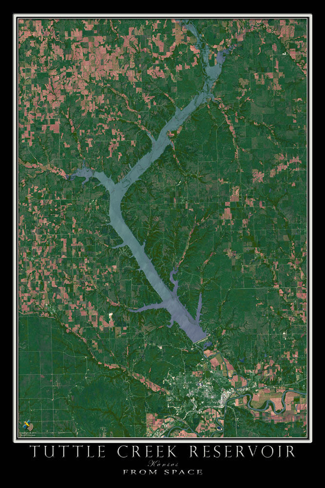 Tuttle Creek Reservoir Kansas Satellite Poster Map - TerraPrints.com