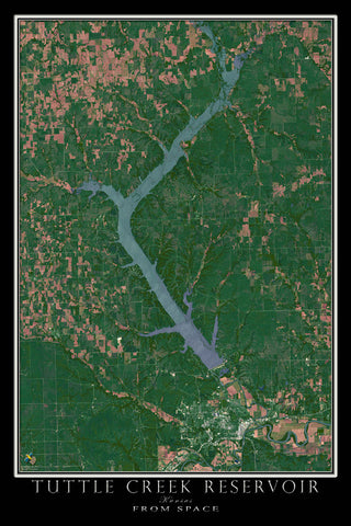 Tuttle Creek Reservoir Kansas From Space Satellite Poster Map - TerraPrints.com