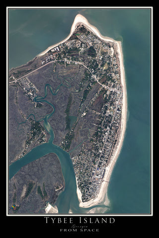 Tybee Island Georgia From Space Satellite Poster Map by TerraPrints.com. Available in multiple sizes with free shipping in the USA.