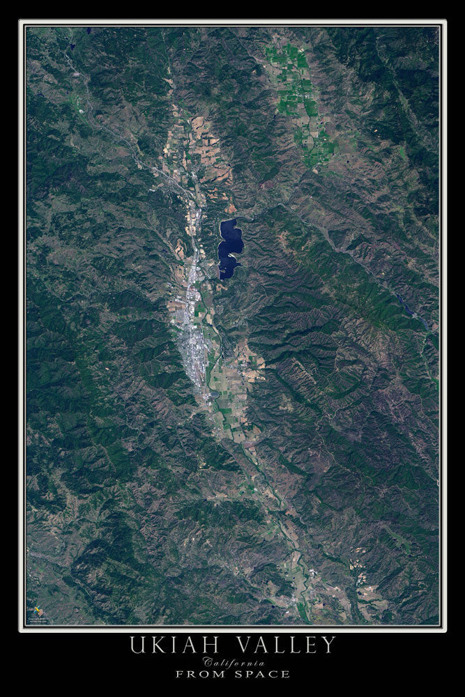 Ukiah Valley California From Space Satellite Poster Map by TerraPrints.com. Available in multiple sizes with free shipping in the USA.