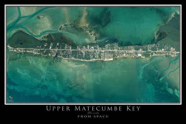 Upper Matecumbe Key Florida From Space Satellite Poster Map by TerraPrints.com. Available in multiple sizes with free shipping in the USA.