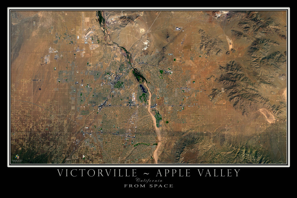 Victorville Apple Valley California Satellite Poster Map