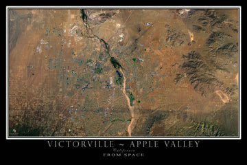 Victorville - Apple Valley California Satellite Poster Map - TerraPrints.com