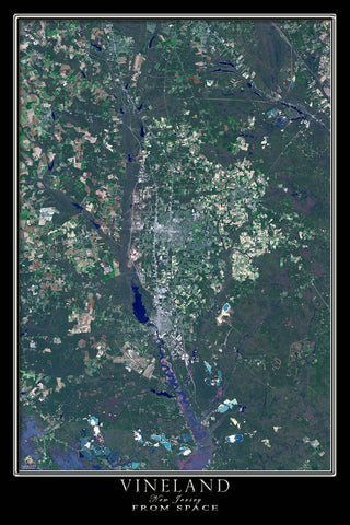 Vineland New Jersey From Space Satellite Poster Map by TerraPrints.com. Available in multiple sizes with free shipping in the USA.