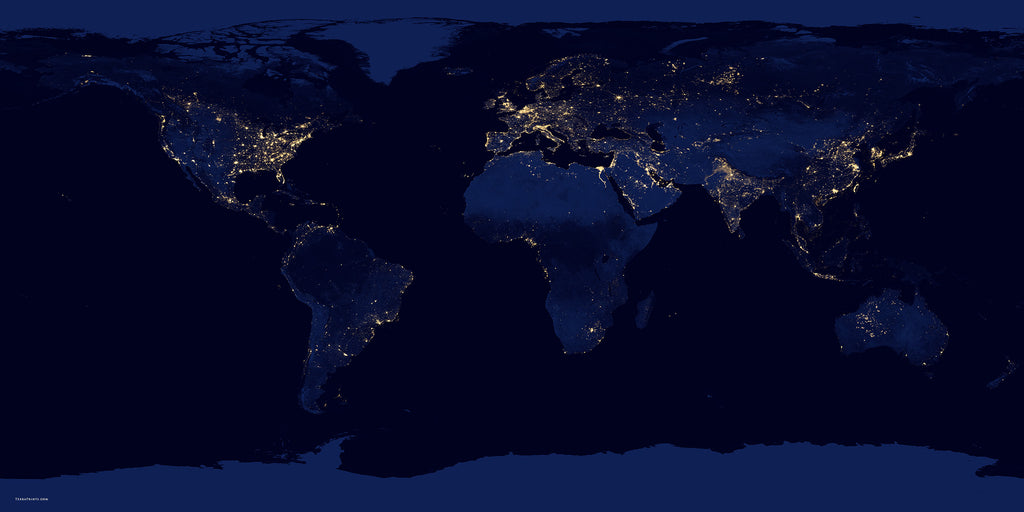 City Lights Of The World Satellite Poster Map TerraPrintscom - The world satellite image