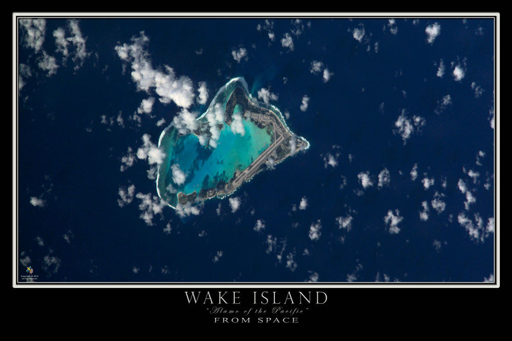 Wake Island From Space Satellite Poster Map - TerraPrints.com
