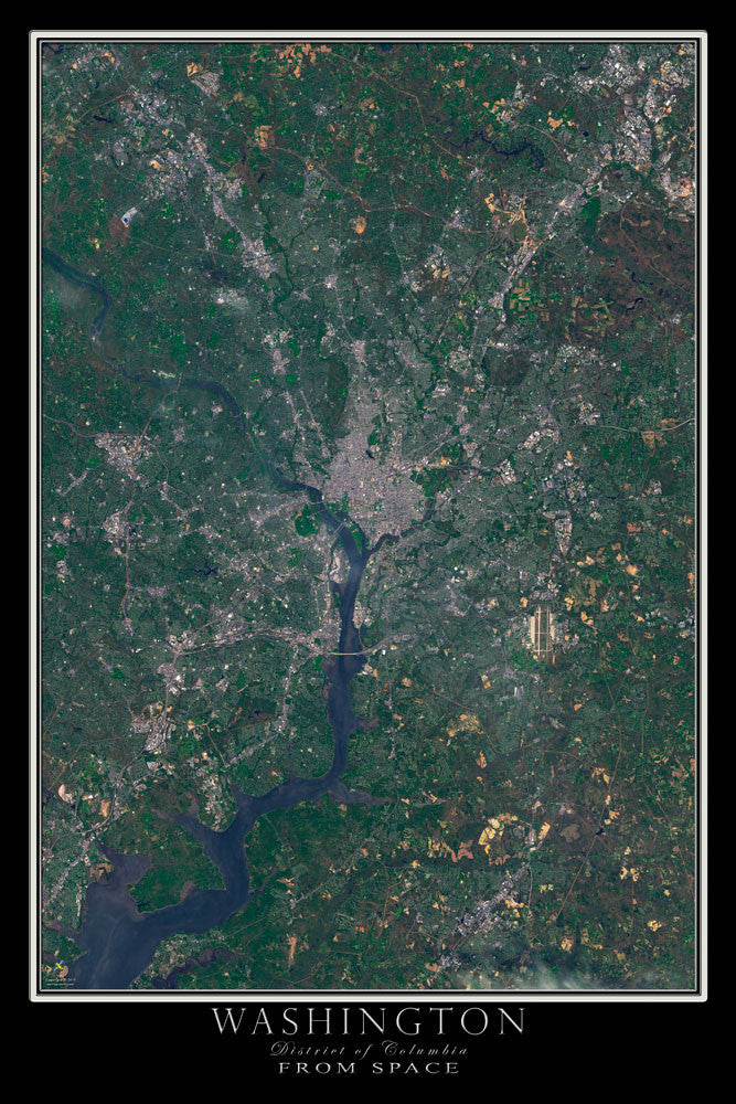 Washington DC From Space Satellite Poster Map - TerraPrints.com