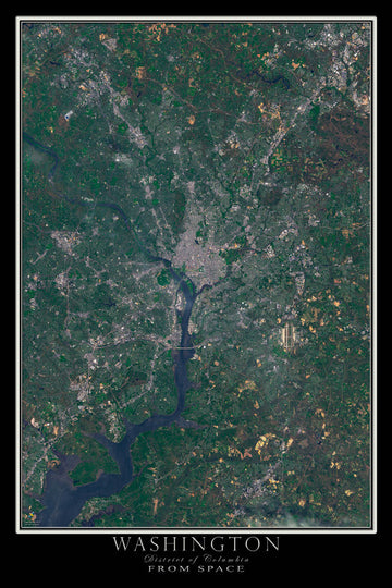 Washington DC Satellite Poster Map - TerraPrints.com