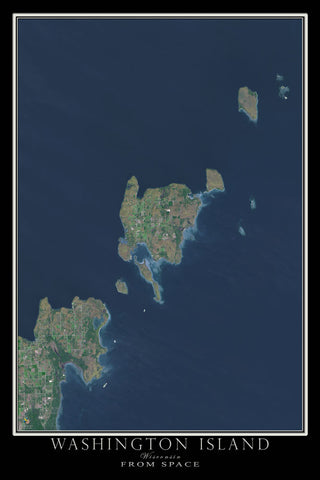 Washington Island Wisconsin From Space Satellite Poster Map by TerraPrints.com. Available in multiple sizes with free shipping in the USA.