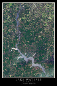 Lake Wateree South Carolina Satellite Poster Map