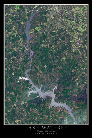 The Lake Wateree South Carolina Satellite Poster Map