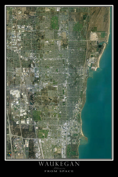 Waukegan Illinois From Space Satellite Poster Map by TerraPrints.com. Available in multiple sizes with free shipping in the USA.