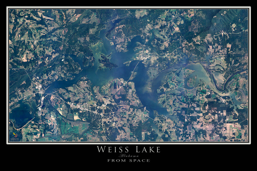 The Weiss Lake Alabama Satellite Poster Map