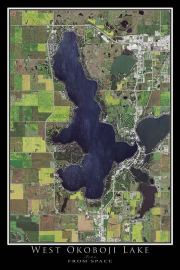 The West Okoboji Lake Iowa Satellite Poster Map