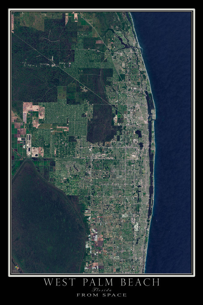 West Palm Beach Florida From Space Satellite Poster Map by TerraPrints.com. Available in multiple sizes with free shipping in the USA.